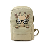 Nerdy Baby Giraffe Canvas Backpack front view