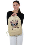 Nerdy Baby Giraffe Canvas Backpack, front view, handheld by model