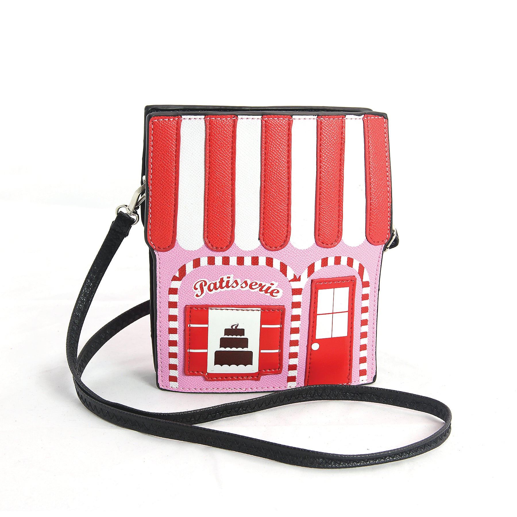 Pink Pastry House Crossbody Bag in Vinyl Material front view