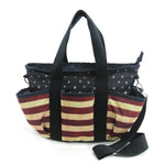 Multi Pocket Vintage Americana Tote Bag in Nylon Material front view
