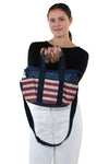 Multi Pocket Vintage Americana Tote Bag in Nylon Material, front view, handheld by model