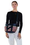 Multi Pocket Vintage Americana Tote Bag in Nylon Material, crossbody style on model