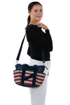 Multi Pocket Vintage Americana Tote Bag in Nylon Material, shoulder bag style on model