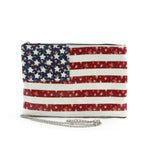 Floral American Clutch and Wristlet in Coated Canvas Material front view