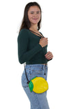 Sleepyville Critters - Lemon Crossbody Bag in Vinyl Material, shoulder bag style on model