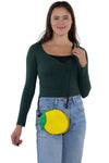 Sleepyville Critters - Lemon Crossbody Bag in Vinyl Material, crossbody style on model