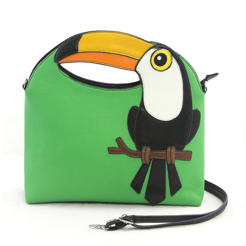 Toucan Handheld Bag in Vinyl Material front view