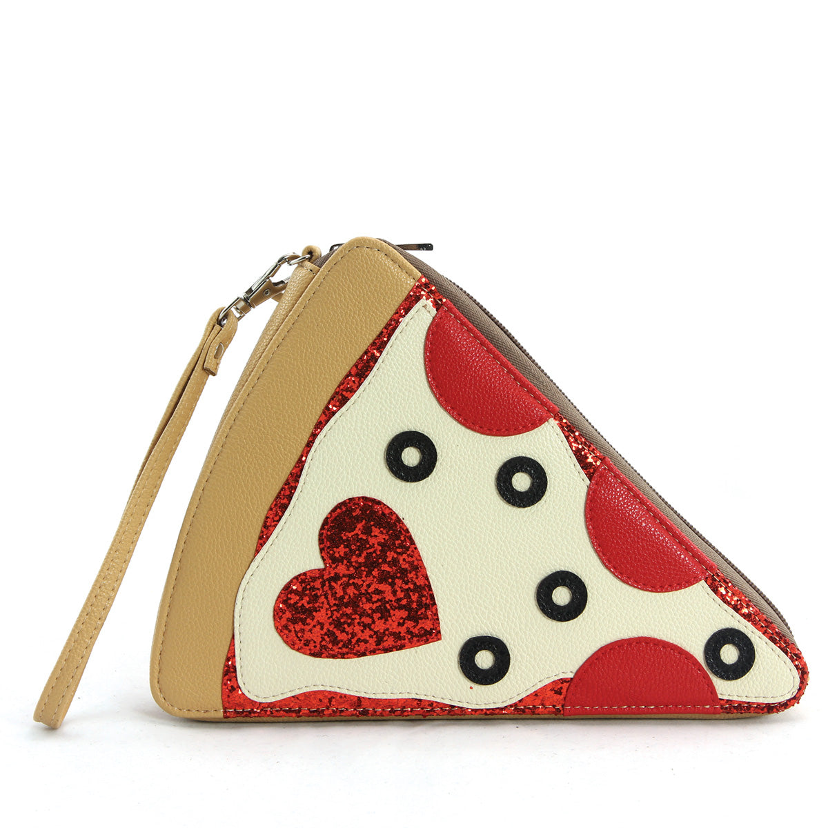 Pepperoni Slice Pizza Wristlet in Vinyl Material front view