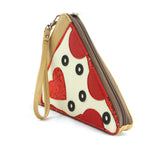 Pepperoni Slice Pizza Wristlet in Vinyl Material side view