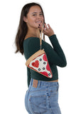 Pepperoni Slice Pizza Wristlet in Vinyl Material, handheld by model