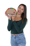 Yummy Taco Wristlet in Vinyl Material, handheld by model