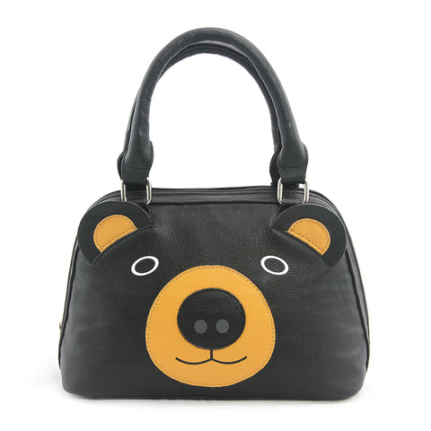 Black Bear Face Satchel in Vinyl Material front view