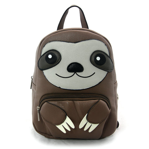 sloth mini backpack frontal view