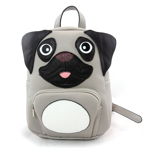 Mini Pug Backpack in Vinyl Material front view