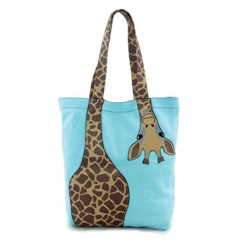 Bending Giraffe Tote Bag in Canvas Material front view