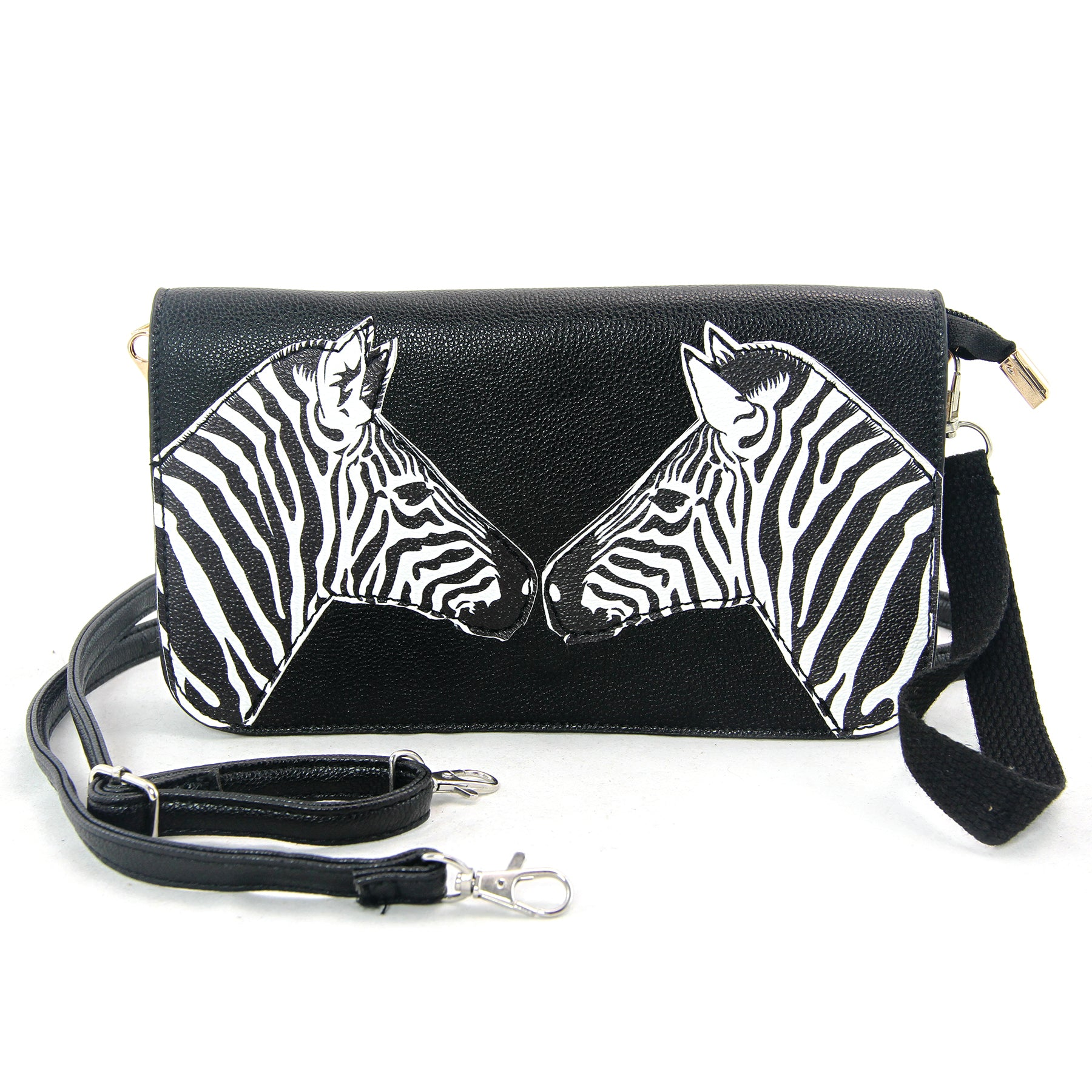 Mirrored Zebras Clutch in Vinyl Material front view