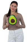 """Have a Heart"" Avocado Crossbody Bag in Vinyl Material, front view, handheld by model"