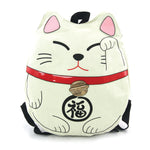 Lucky Cat Backpack in Canvas Material, beige color front view