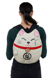 Lucky Cat Backpack in Canvas Material, backpack style on model