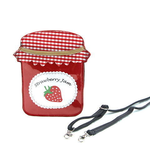 Sleepyville Critters - Strawberry Jam Crossbody Bag in Vinyl Material front view