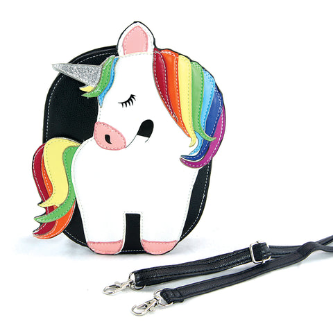 Sleepyville Critters - Rainbow Unicorn Crossbody Bag in Vinyl Material frontal view