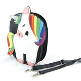 Sleepyville Critters - Rainbow Unicorn Crossbody Bag in Vinyl Material side view