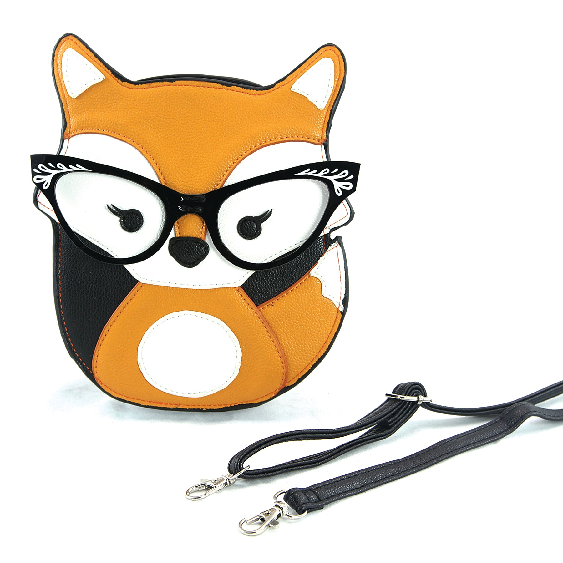 Sleepyville Critters - Foxy Fox with Vintage Eyewear Crossbody Bag, front view