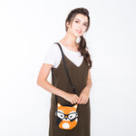Sleepyville Critters - Foxy Fox with Vintage Eyewear Crossbody Bag, crossbody style on model
