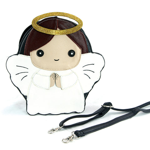 Sleepyville Critters - Angel with Halo Crossbody Bag in Vinyl Material, brown color, front view