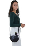 Sleepyville Critters - Swan Crossbody Bag in Vinyl Material, shoulder bag style on model