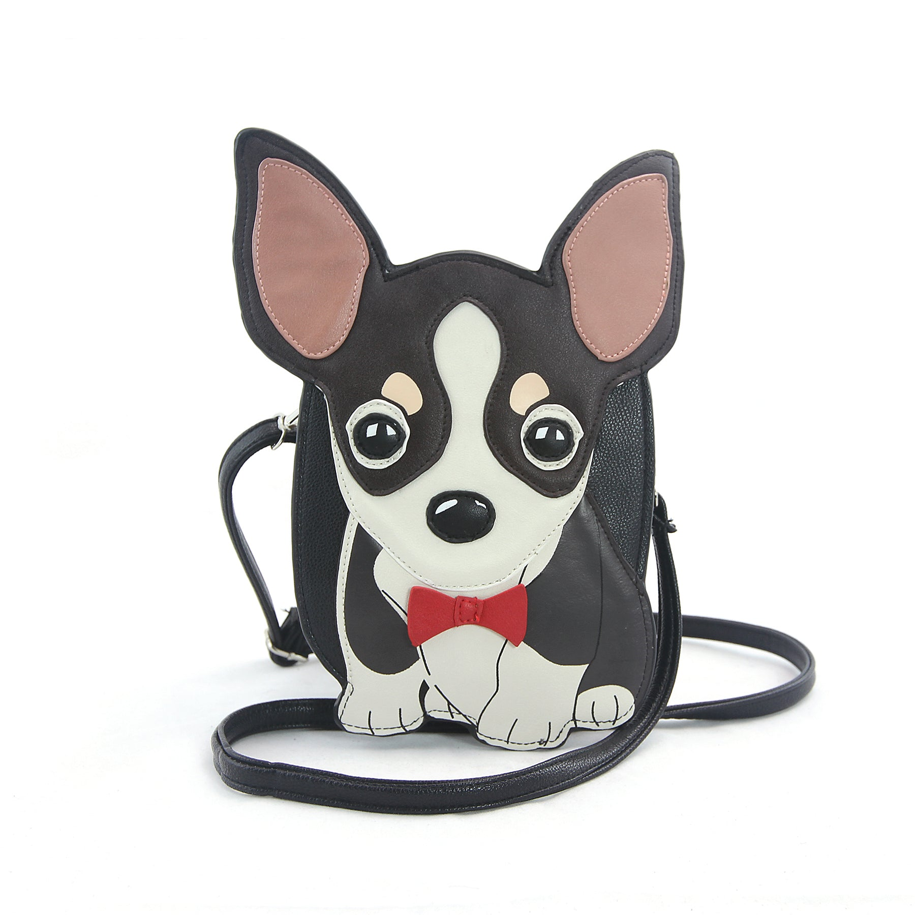 Sleepyville Critters - Chihuahua with Bow Tie Crossbody Bag in Vinyl Material front view