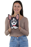 Sleepyville Critters - Chihuahua with Bow Tie Crossbody Bag in Vinyl Material, handheld by model