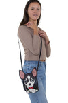 Sleepyville Critters - Chihuahua with Bow Tie Crossbody Bag in Vinyl Material, shoulder bag style on model