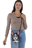 Sleepyville Critters - Chihuahua with Bow Tie Crossbody Bag in Vinyl Material, crossbody style on model