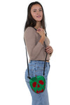 Sleepyville Critters - Poisoned Apple Crossbody Bag in Vinyl Material, shoulder bag style on model
