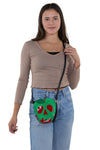Sleepyville Critters - Poisoned Apple Crossbody Bag in Vinyl Material, crossbody style on model