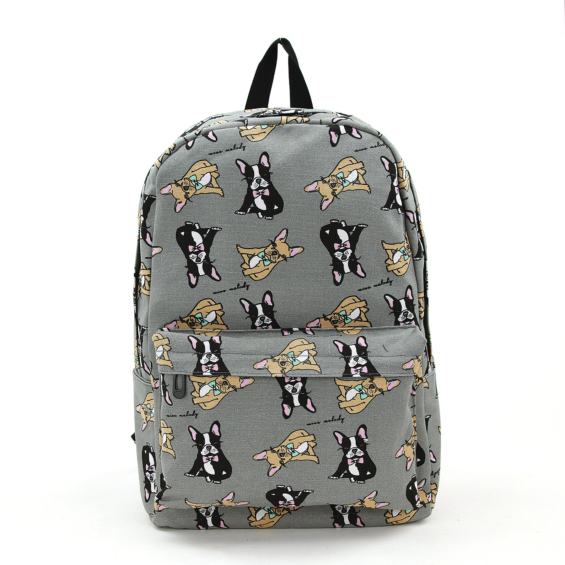 Boston Terrier Backpack in Canvas Material front view