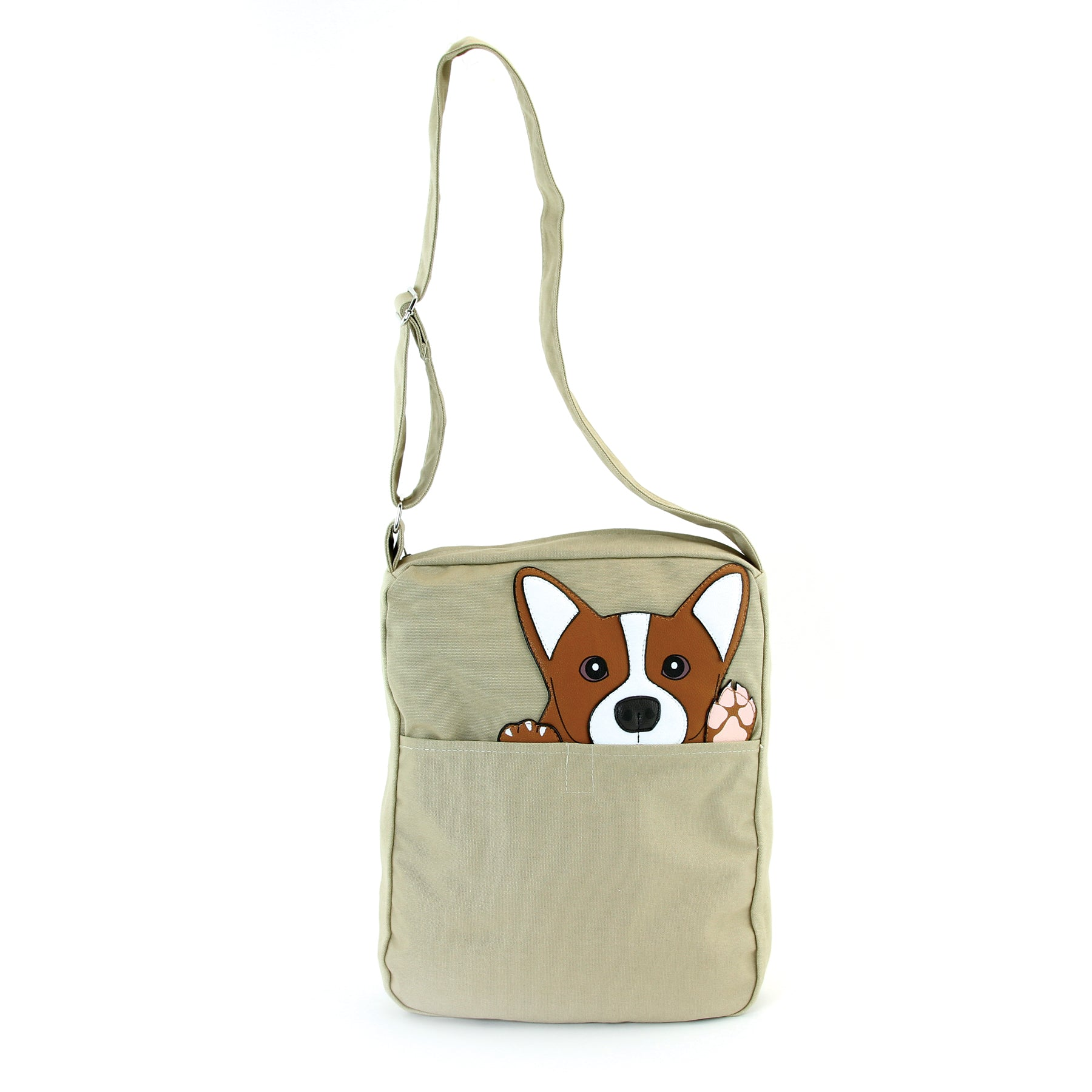 Peeking Corgi Messenger in Canvas Material front view