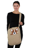 Peeking Corgi Messenger in Canvas Material, crossbody style on model