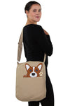 Peeking Corgi Messenger in Canvas Material, shoulder bag style on model