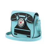 Vintage Telephone Shoulder Bag in Binyl Material front view