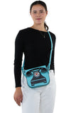 Vintage Telephone Shoulder Bag in Vinyl Material, crossbody style on model
