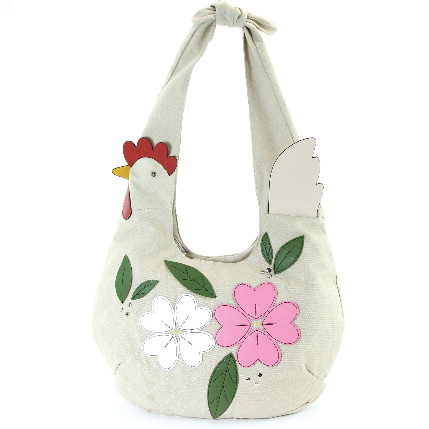 chicken hobo bag with flowers front view