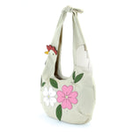 chicken hobo bag with flowers side view