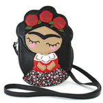 unibrow girl cross body bag front view