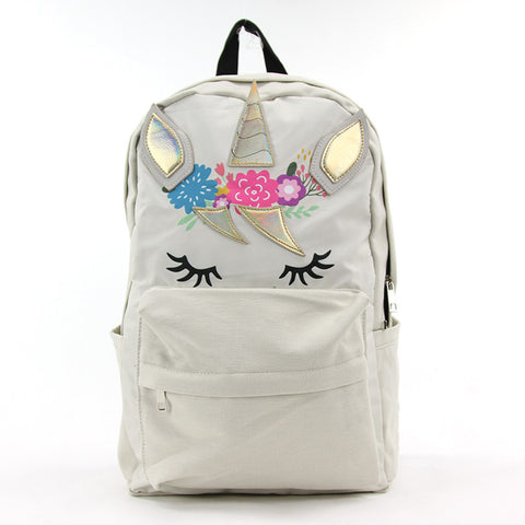 Beige Unicorn Backpack in Canvas Material frontal view