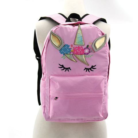 Pink Unicorn Backpack in Canvas Material frontal view