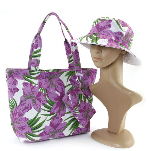 Colorful Matching Tote, Hat and Wallet in Canvas Material, front view