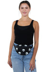 Glow in the Dark Alien Fanny Pack in Canvas Material, front view, fanny pack style on model
