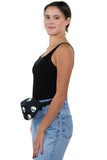 Glow in the Dark Alien Fanny Pack in Canvas Material, side view, fanny pack style on model